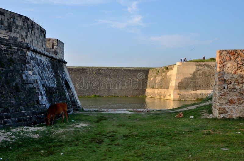 Sekcje ściana i fosa z wodą przy Jaffna fortem Sri Lanka zdjęcie stock