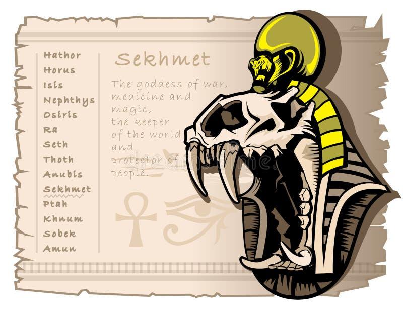Sekhmet-Göttin des Krieges in der alten ägyptischen Welt Tätowieren Sie Schablone und T-Shirts stock abbildung