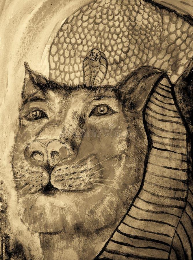 Sekhmet la leona en tonos de la sepia stock de ilustración