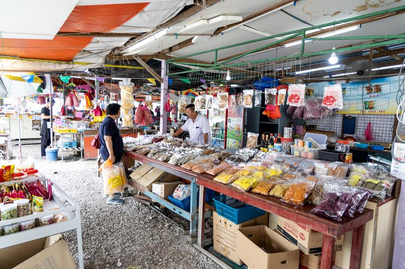 SEKINCHAN, MALAYSIA, February 16, 2020: Sekinchan`s Pantai Redang is popular tourist destination, with many shops selling seafood. Produce stock photos