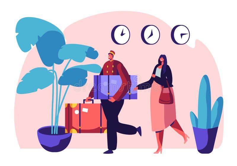 Sekretär in der einheitlichen treffenden Frau in der Hotel-Lobby, die zu Carry Baggage hilft Der Gastfreundschafts-Service, der  vektor abbildung