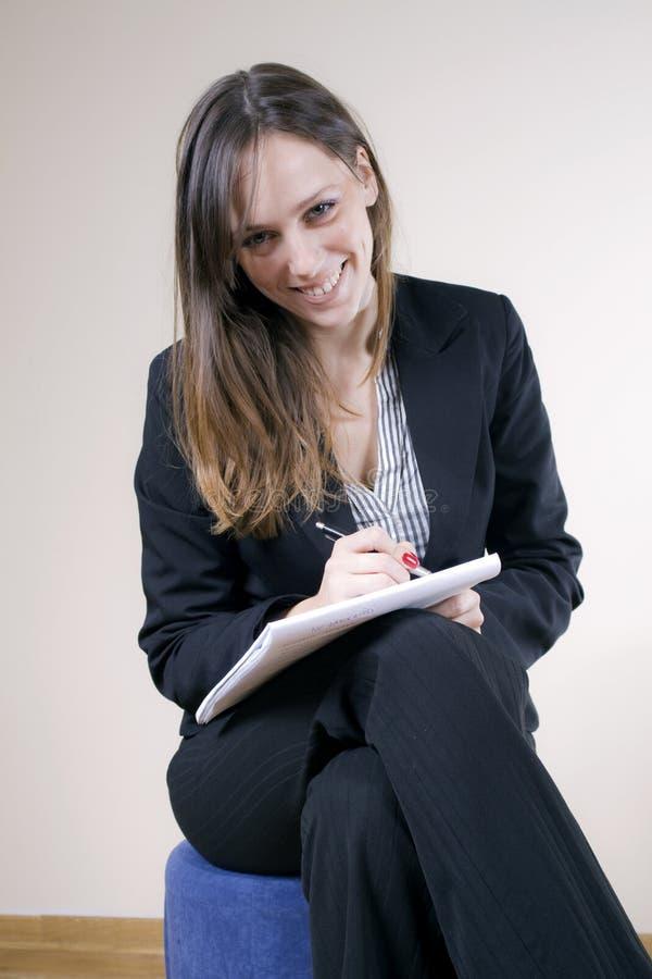 sekretarka duży ładny uśmiech zdjęcie stock