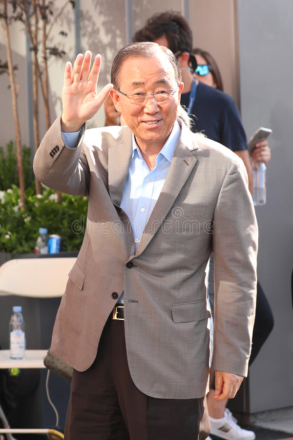 sekretarka - generał Narody Zjednoczone Ban Ki-moon uczęszcza us open 2016 mężczyzna ` s definitywnego dopasowanie fotografia stock