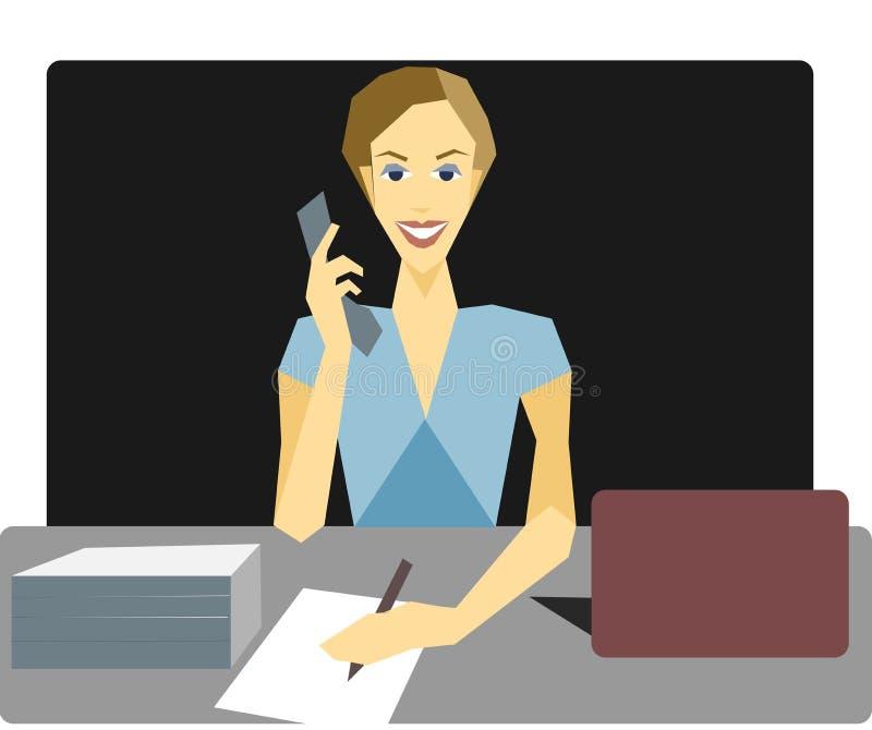 Sekretarka przy biurkiem mówi na telefonie zdjęcie stock