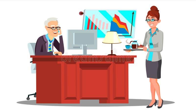 Sekretarki dziewczyna Niesie filiżanki kawy Na tacy Dyrygować wektor W kostiumu button ręce s push odizolowana początku ilustracy ilustracja wektor