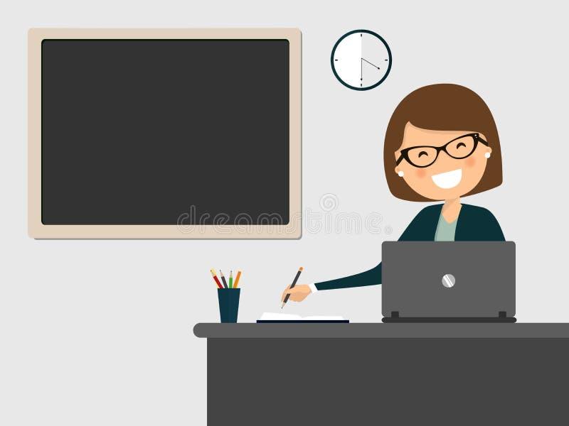 Sekreterare som ler på arbetsplatsen med den rena svart tavla som hänger på väggen royaltyfri illustrationer