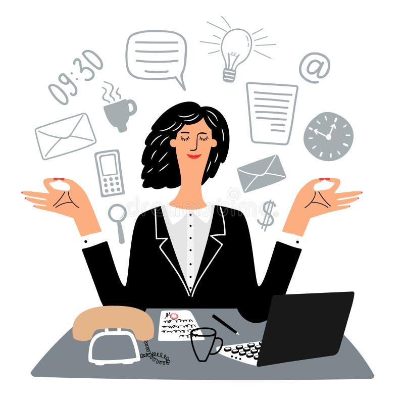 Sekreterarekvinnan mediterar tyst i arbetsplatsvektor royaltyfri illustrationer
