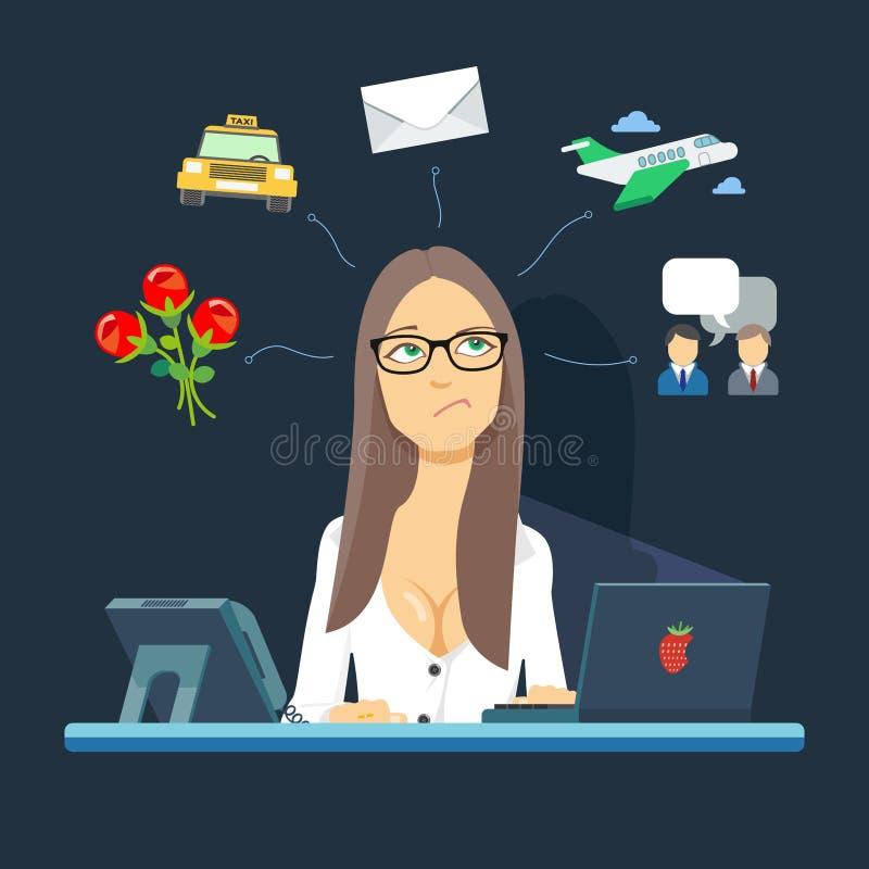 Sekreteraren sitter på arbetsplatsen Tillgängligt i med hög upplösning stock illustrationer