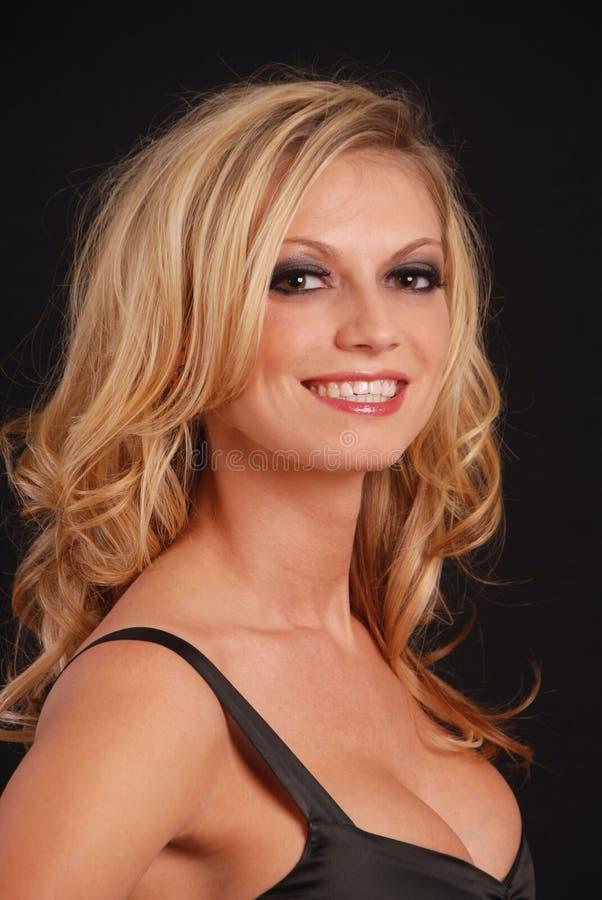 seksowna blondynka się uśmiecha zdjęcia stock