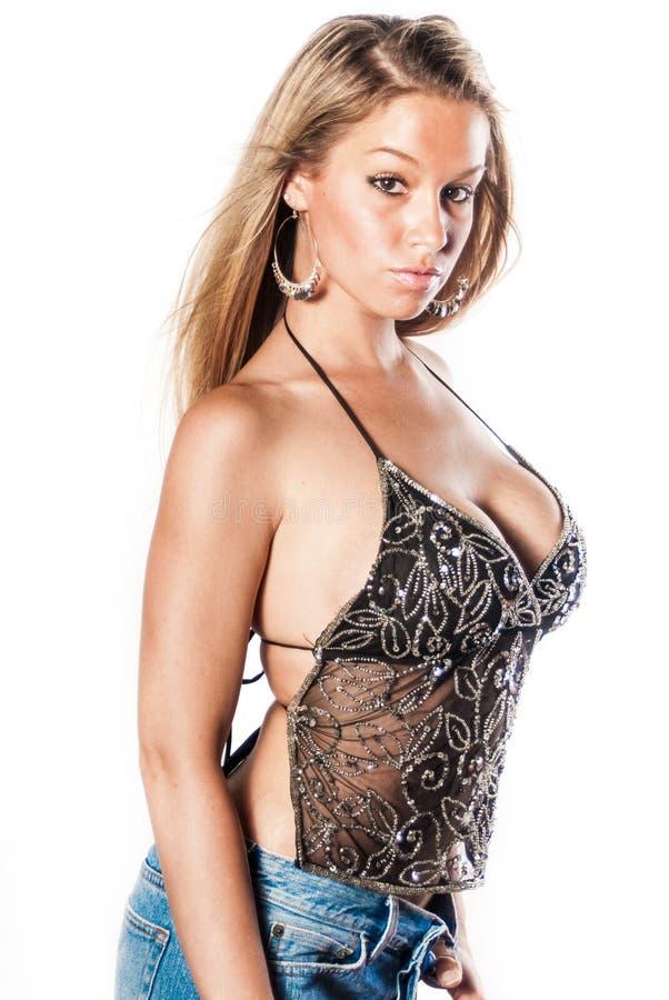 Seksowna blondynki dziewczyna, moda model/ obrazy stock