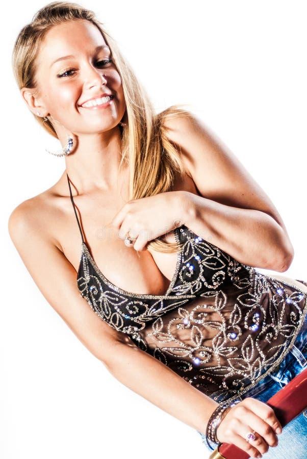 Seksowna blondynki dziewczyna, moda model/ obraz stock