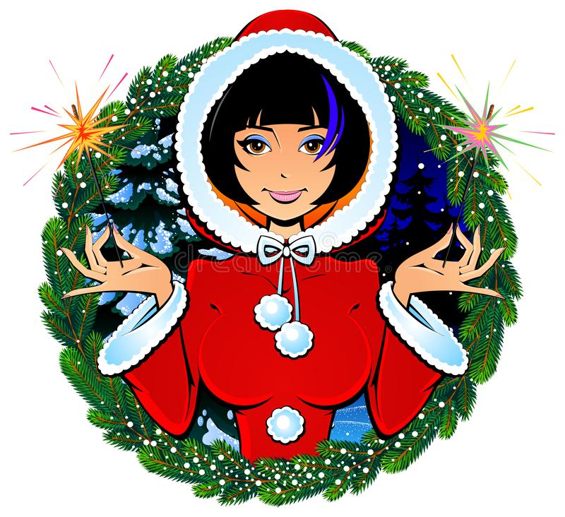 Seksowna Bożenarodzeniowa dziewczyna Święty Mikołaj z Bengalia światłami, fajerwerki wektor royalty ilustracja