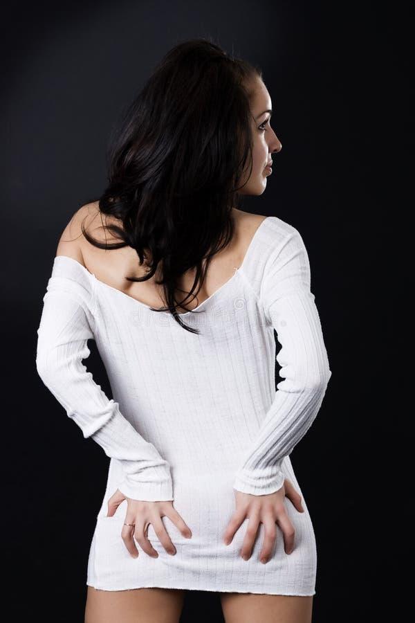 seksowna czarny tło brunetka obraz stock