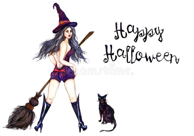 Seksowna czarownicy pozycja w kapeluszu z miotłą i czarnym kotem royalty ilustracja