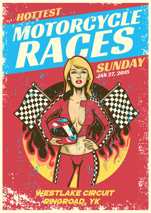 Seksowna dziewczyna w motocykl rasy wydarzenia plakacie w grunge textured sty ilustracja wektor