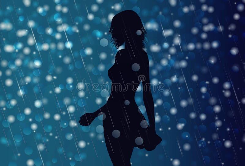Seksowna dziewczyny sylwetka w deszczu, nocy tło royalty ilustracja