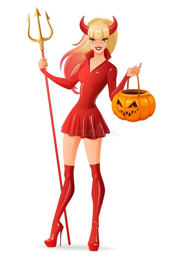Seksowna kobieta w Halloweenowym czarcim kostiumu z Jack - latarniowy dyniowy kosz Odosobniona wektorowa ilustracja ilustracja wektor