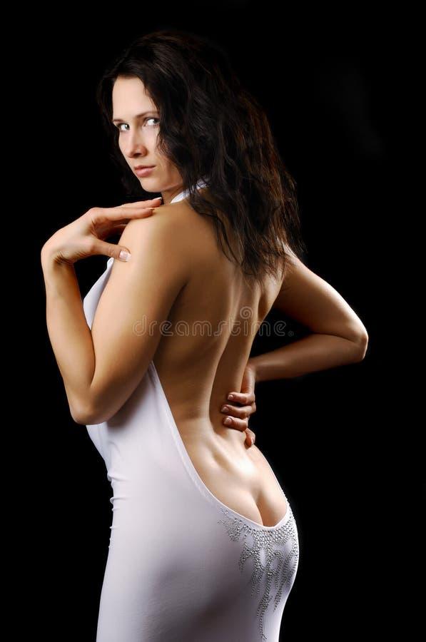 Seksowna kobieta w koktajl sukni fotografia stock