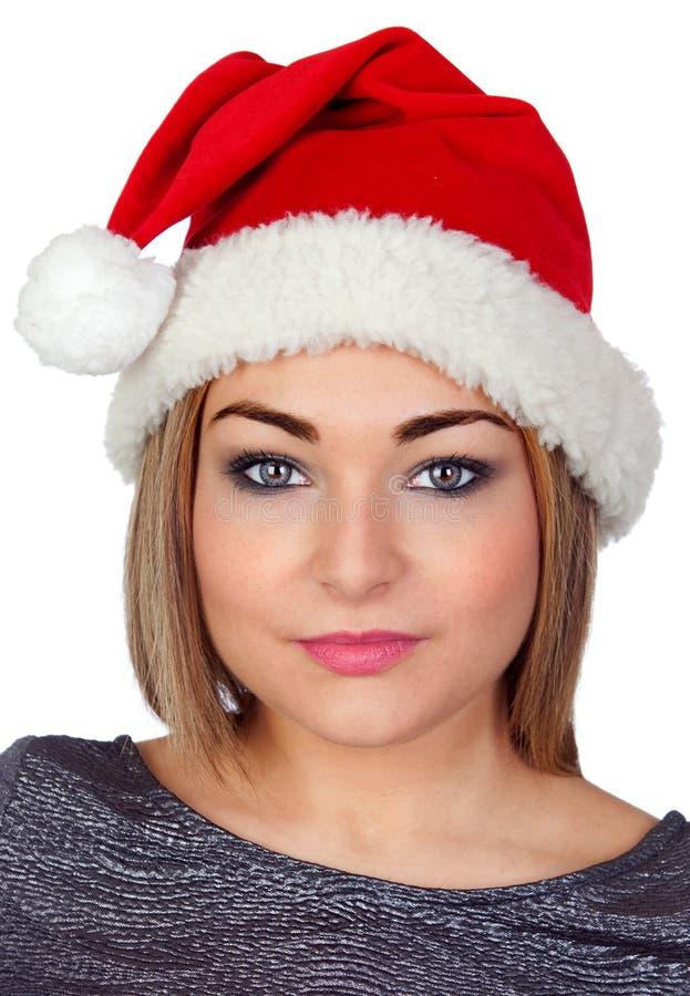 Seksowna kobieta z Bożenarodzeniowym kapeluszem obraz stock