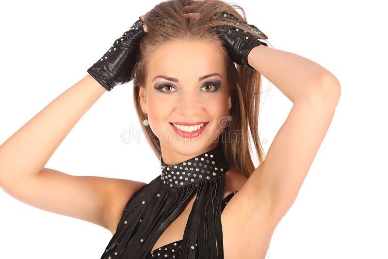 Seksowna młoda kobieta iść tancerz z długimi nogami zdjęcie royalty free