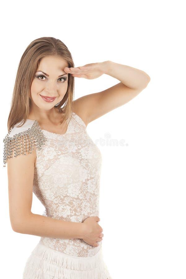Seksowna młoda kobieta iść tancerz z długimi nogami fotografia stock