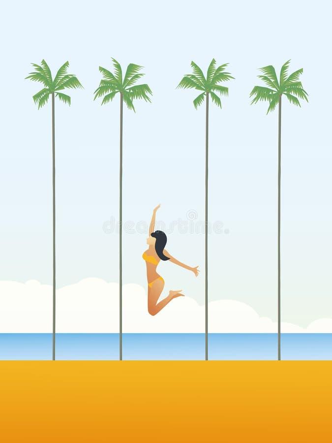 Seksowna młoda kobieta w bikini skacze nad plażową wektorową kreskówką drzewka palmowe w tle Wakacje letni lub wakacje plakat royalty ilustracja