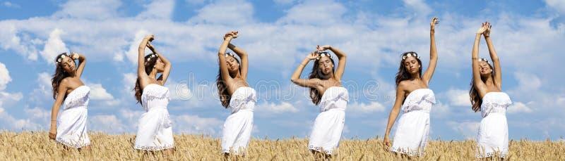 Seksowna młoda kobieta w pszenicznym złotym polu zdjęcie stock