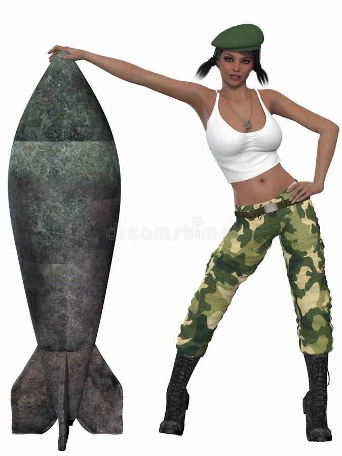 Seksowna militarna dziewczyna pozuje z bombą ilustracja wektor