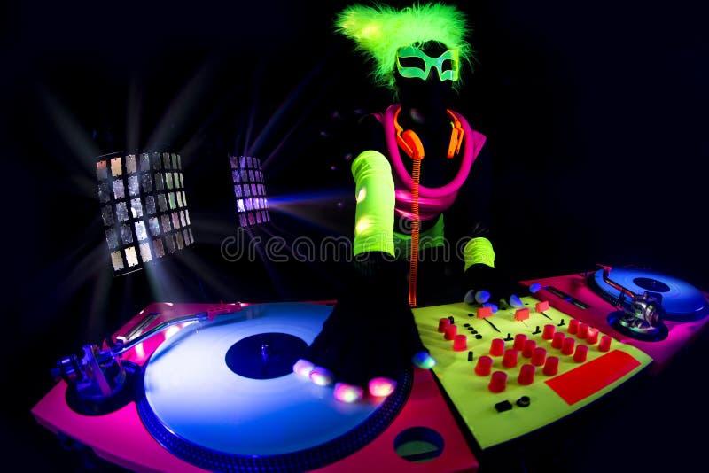Seksowna neonowa ultrafioletowa łuna DJ obrazy royalty free