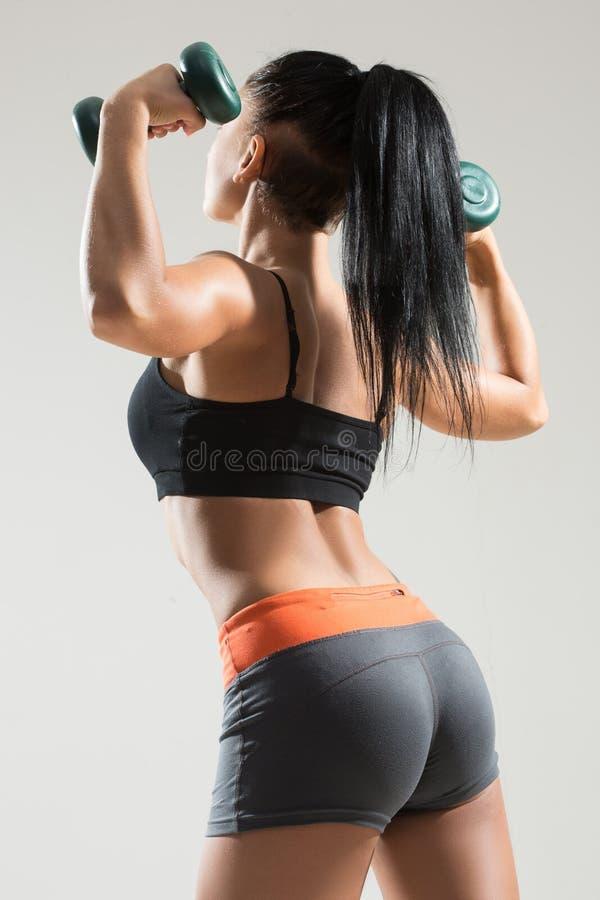 Seksowna sportowa kobieta z długie włosy plecy obrazy stock