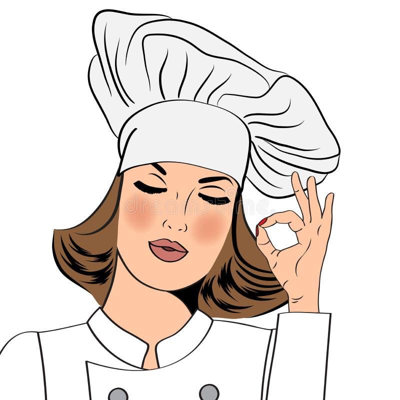 Seksowna szef kuchni kobieta gestykuluje ok szyldowego z jej ręką w mundurze royalty ilustracja