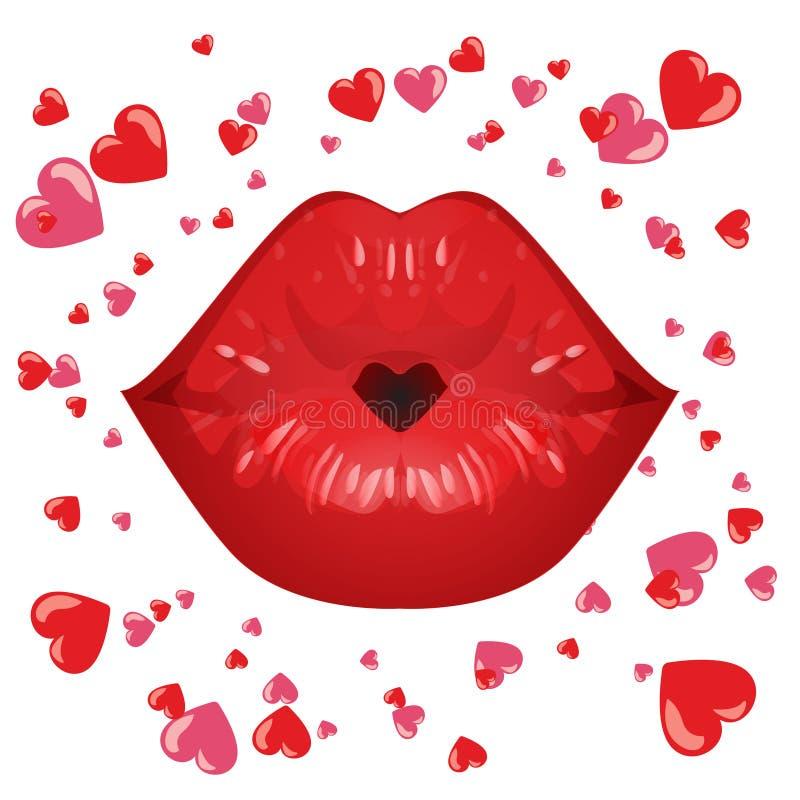 Seksowne czerwone wargi w buziaku miłość I czerwony serce, odizolowywający na bielu ilustracji