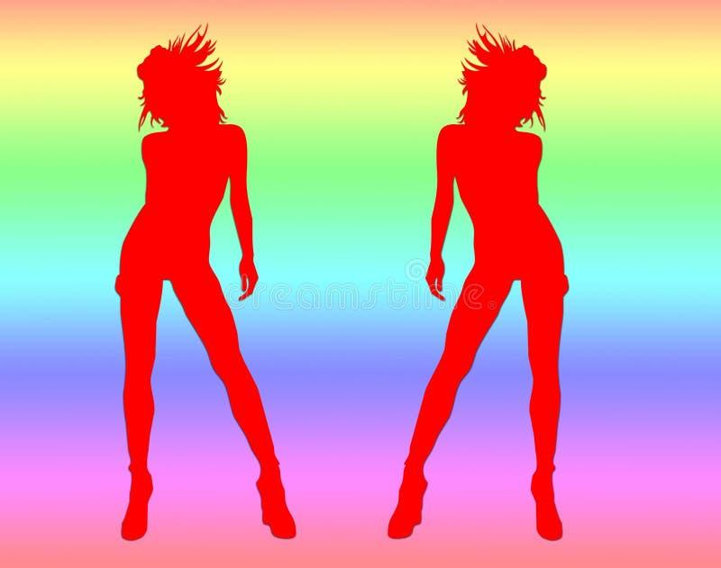 seksowne dwa tańczące dziewczyny royalty ilustracja