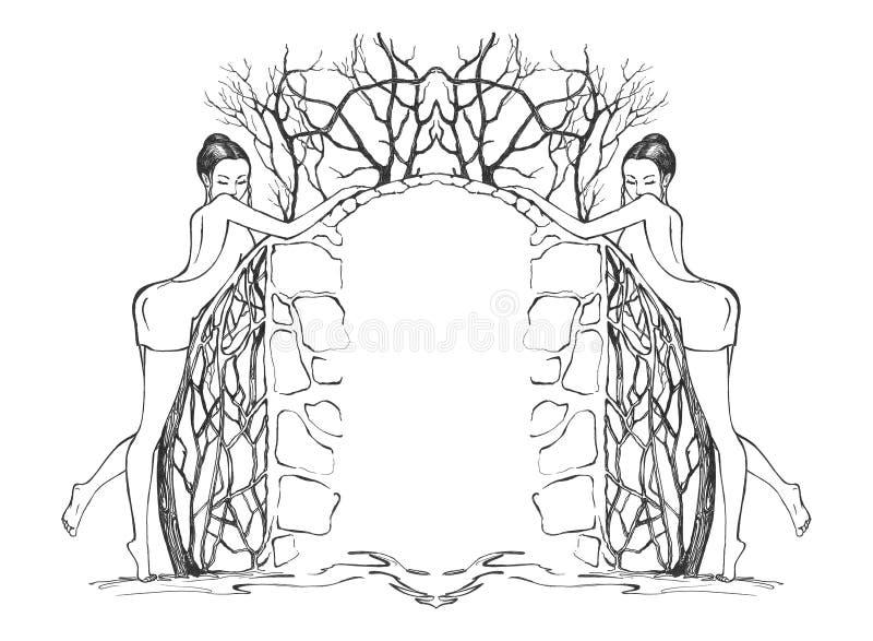 seksowne dziewczyny graniczne royalty ilustracja
