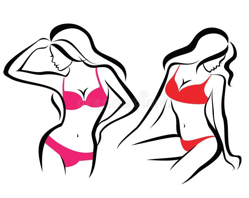 Seksowne kobiet sylwetki, bielizna ilustracja wektor