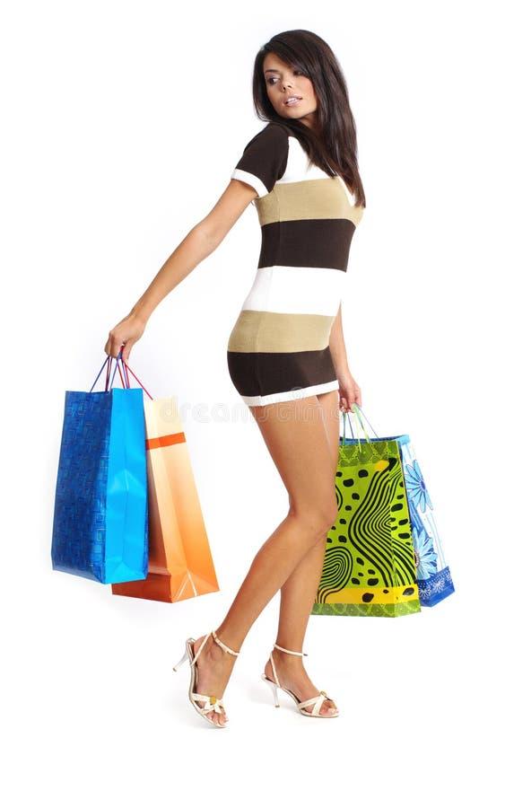 seksowne kobiety torby na zakupy zdjęcia stock