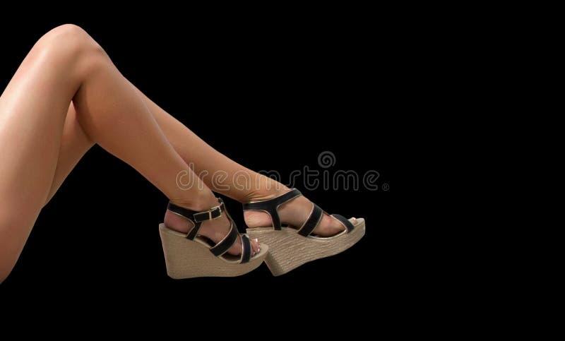 Seksowne Nagie kobiet nogi, sandały i zdjęcia stock