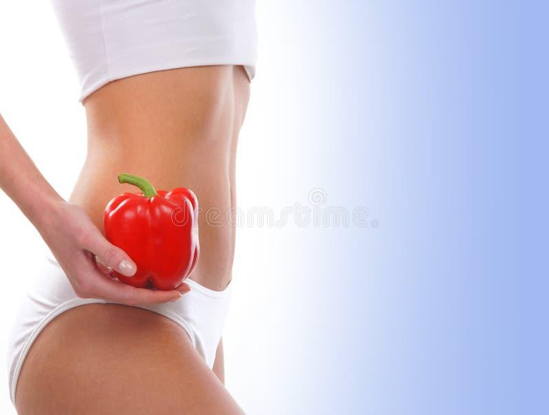 Download Seksowny Ciało Młoda Kobieta Trzyma Czerwoną Paprykę Obraz Stock - Obraz złożonej z jedzenie, majtasy: 28964187