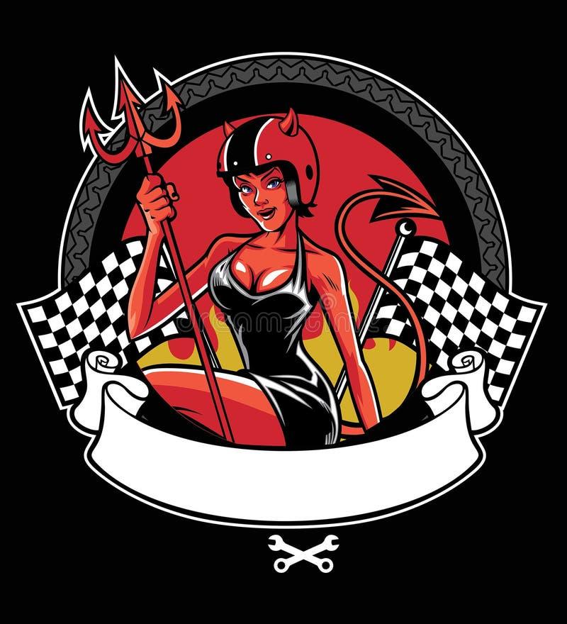 Seksowny czarci jest ubranym motocyklu hełm ilustracji