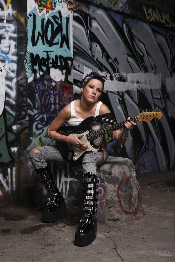 seksowny gitara gracz obraz stock