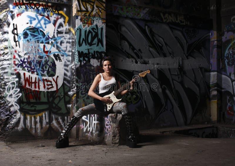 seksowny gitara gracz fotografia stock