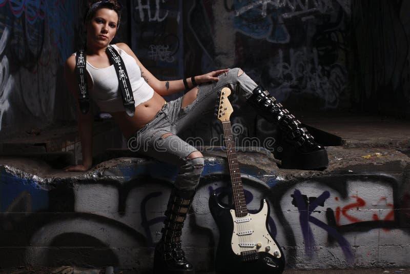 seksowny gitara gracz obrazy stock