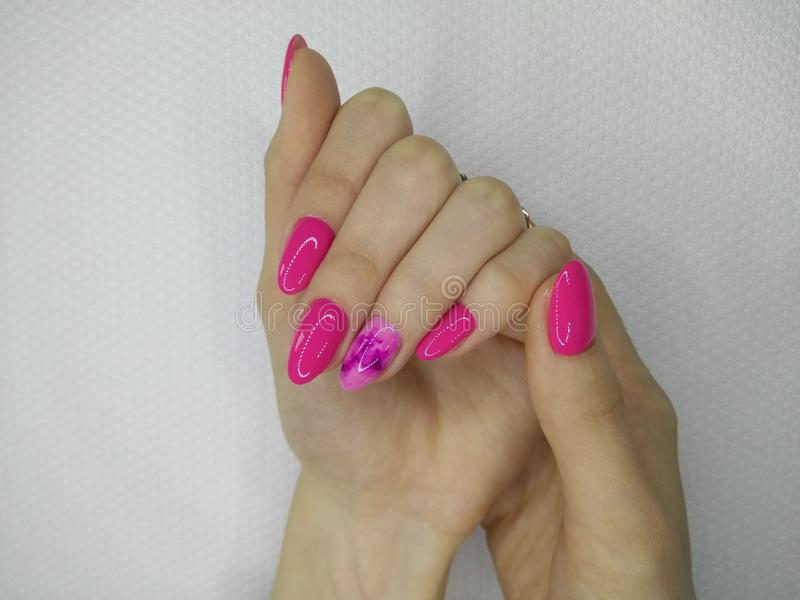 seksowny menchia manicure obrazy stock