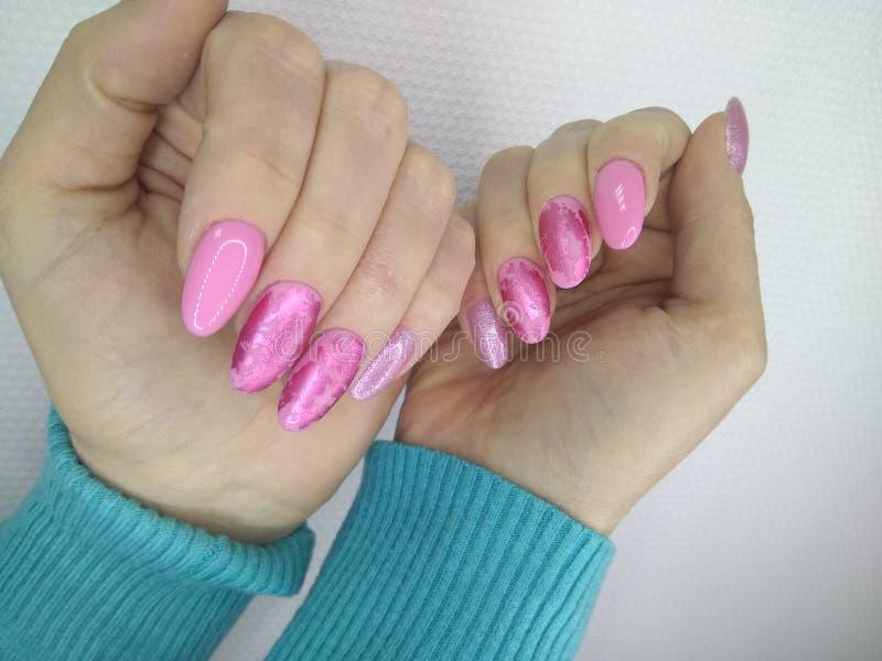 seksowny menchia manicure fotografia stock