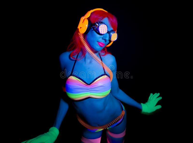 Seksowny neonowy ultrafioletowy jarzeniowy tancerz fotografia stock