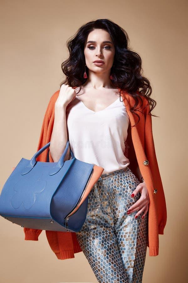 Seksowny piękny kobiety mody splendoru modela brunetki włosy makeup obrazy stock