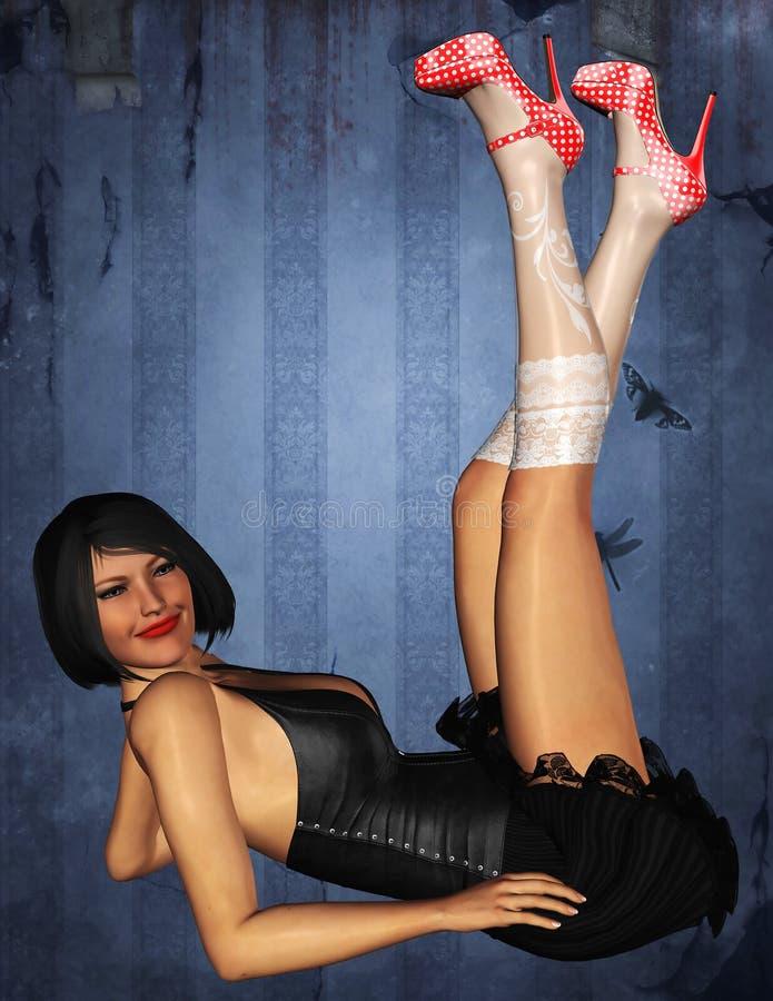 Seksowny pinup w czarnej sukni ilustracja wektor