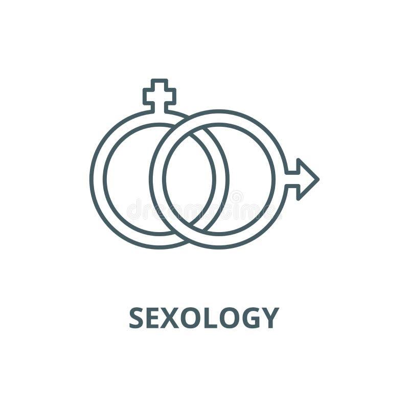 Seksuologia wektoru linii ikona, liniowy pojęcie, konturu znak, symbol ilustracji