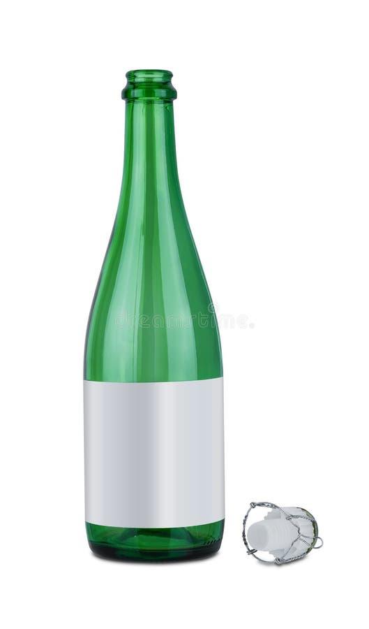 Sektflasche und Plastikwein-Stopper oder Cork Wine lokalisiert auf wei?em Hintergrund stockfotografie