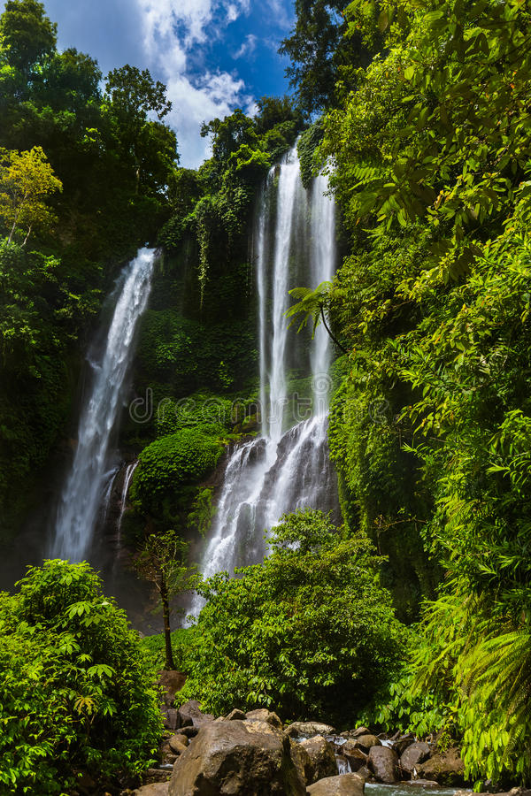 Sekumpul waterfall - Bali island Indonesia royalty free stock photos